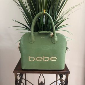 Bebe brand new unique green satchel!!